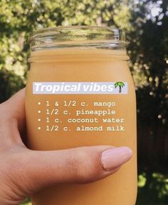- 1 & c. mango - c. pineapple - 1 c. coconut water - c. Healthy Fruit Smoothies, Yummy Smoothie Recipes, Breakfast Smoothie Recipes, Smoothie Drinks, Good Healthy Recipes, Healthy Drinks, Easy Recipes, Snacks Saludables, Coconut Water