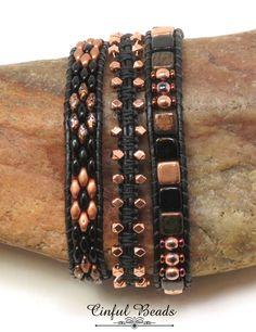 Original Bohemian Light Labradorite Boho Leather Wrap Semi Precious Stone Beaded Cuff Bracelet