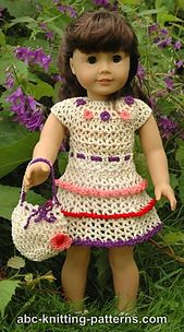 American Girl Doll Wildflower Dress with Ruffles pattern by Elaine Phillips