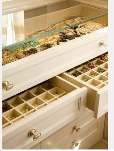 jewelry drawers- like the glass top and the hardware