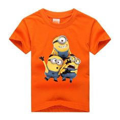 Amapo 2016 new style boys summer T-shirts minions Shirts Cotton Kids Tops print…