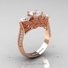 Nature Classic 14K Rose Gold Three Stone White Sapphire Diamond Laurel Leaf Solitaire Ring R800N-14KRGDWS | ArtMastersJewelry
