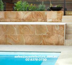 Sandstone tiles and pabers made from local sandstone.  sales@aussietecture.com.au 02 8378 0730 Sandstone Pavers, Paver Stones, Stone Supplier, Wall Cladding, Stone Tiles, Wall Tiles, Landscape Design, Floors Of Stone, Room Tiles