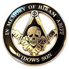 In Memory Of Hiram Abiff.  Hiram is mentioned in the bible about 2 times.  He is a very minor character.  However, he is exalted in Freemasonry to the level of a messiah.  His death is allegorical of the Egyptian god Osiris because he is buried three times and then resurrected.
