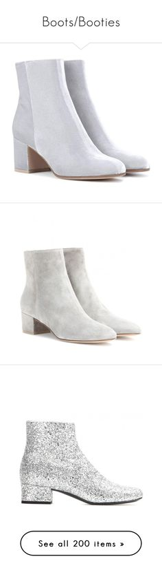 """""""Boots/Booties"""" by crasher-caroline ❤ liked on Polyvore featuring shoes, boots, ankle booties, ankle shoes, silver, grey ankle boots, gray ankle boots, grey ankle booties, ankle boots and velvet booties"""
