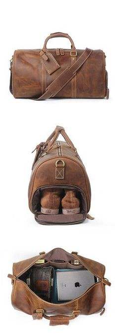 95dddd187eb Vintage Crazy Horse Leather Duffle Bag, Travel Bag with Shoes Compartment   Weekend Bag Mens