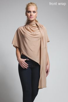 A versatile fashion solution: The Bina - one item that is a scarf, poncho, wrap, cardigan and more.