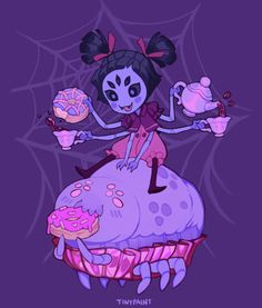 """tinypaint: """" A shirt design of my boss, Muffet, from Undertale. I made it in partner with Fangamer and it was a lot of fun! You can buy the shirt here! Credit to the cute muffin spider design goes to Magnolia~ """" Undertale Ships, Undertale Fanart, Undertale Au, Muffet Undertale, Avas Demon, Spider Girl, Toby Fox, Undertale Drawings, Doll Repaint"""