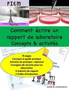 "Boost your students' writing skills! and teach them how to write ""Un rapport de recherche""! Ready to print and USE as a TEACHING Writing Skills, Rubrics, Have Time, Assessment, Teaching, Students, French, Check, Science Labs"