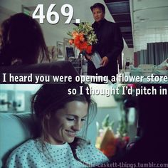 """""""i heard you were opening a flower store so i thought i'd pitch in"""" - Castle Castle Abc, Castle Tv Series, Castle Tv Shows, Tv Quotes, Movie Quotes, Watch Castle, Castle Quotes, Detective, Tv Show Couples"""