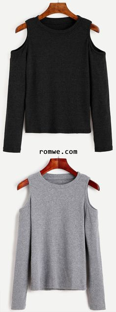 76f5f450d13c53 Grey  amp  Black Open Shoulder Knit T-shirt from romwe.com Fall Winter