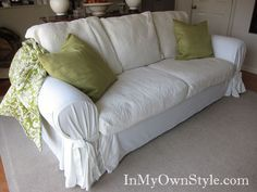 Maybe with this tutorial I can finally make slip covers look like more than just a bedspread tossed on a couch!