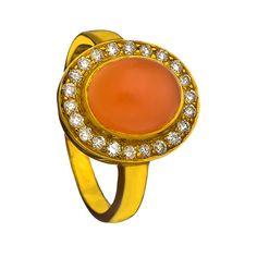 Socheec Diamond Peach Moonstone Orbit Ring ($1,009) found on Polyvore