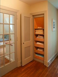 Linen closet pull out shelves Closet Design, Pictures, Remodel, Decor and Ideas - page 6 Pull Out Shelves, Pull Out Drawers, Closet Shelves, Closet Storage, Closet Drawers, Sliding Drawers, Sliding Shelves, Stair Storage, Sliding Doors