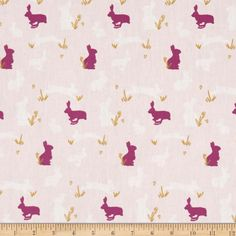 Art Gallery Anna Elise Bunny Binkies Fluff Metallic from @fabricdotcom  Designed by Bari J. for Art Gallery, this cotton print fabric is perfect for quilting, apparel and home decor accents. Colors include light pink, magenta, white and gold metallic accents.