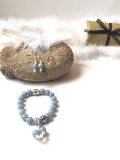 Bracelet angélite bleu et tête de Boudha en métal par Ocelyane