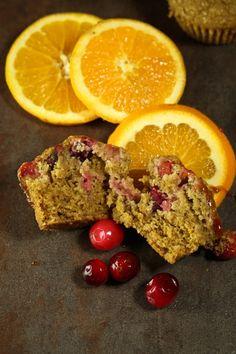 Vegan Cranberry Orange Oat Muffins [oat flour, potato starch, cinnamon, fresh orange juice, molasses, fresh cranberries, unsweetened applesauce]