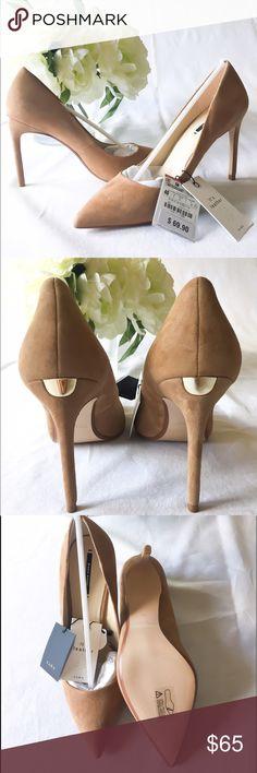Zara Suede Nude Heels size 9 USA or 40 Euro! Zara Nude High Heel so