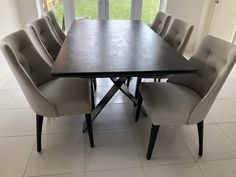 Extendable version of our Xenon dining table with Steel Dark ceramic top and Black frame. FLORIDA dining chairs in Comfy Dove and Black legs. Delivered to our client in Wokingham. Dining Chairs, Dining Table, Leather Bed, Sofa Design, Modern Bedroom, Contemporary Furniture, Sideboard, Sofas, Florida