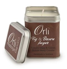 Fig & Brown Sugar ~  Luxurious cocoa and shea butter massage candle fragranced with the delicious aroma of fig, passion fruit, vanilla orchid & muguet, sweet brown sugar, warm maple and hint of bourbon vanilla.