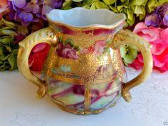 Gorgeous Nippon Porcelain Hand Painted Three Handled Vase ~ Roses ~ Gold Gild