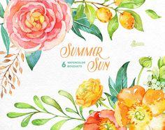 Summer Sun: 6 Watercolor Bouquets, popies, ranunculus, peonies, floral wedding invitation, greeting card, diy clip art, flowers, fruits, sun