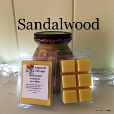 Sandalwood, Scented Wax Melts, Soy Wax Melts, Strong, Earthy Scent, Scented Wax Cubes, Home Scents, Handmade, Made in America by AshcraftCottage on Etsy