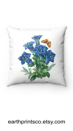 """Floral throw pillow cover / botanical throw pillowcase / Cottagecore floral pillow case / Blue gentian flower cover for accent pillows ✻ Pillow cover / Pillowcase ✻ floral botanical design ✻ blue gentian flower print ✻ Available 4 sizes: 14""""x14"""", 16""""x16"""", 18""""x18"""", 20""""x20"""" ✻ Pillow is not included ✻ 100% Polyester ✻ Double-sided print ✻ Concealed zipper Square Pillow Covers, Throw Pillow Covers, Pillow Cases, Floral Throw Pillows, Accent Pillows, Flower Prints, Zipper, Flowers, Blue"""