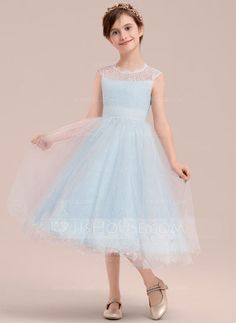 f2d8c8e4847 A-Line Princess Tea-length Flower Girl Dress - Tulle Lace Sleeveless Scoop  Neck JJsHouse.