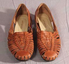Women's Softspots Sandals Brown Size 8.5 N Leather Slip-on Low #Softspots #Slipon