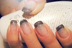 Black french tip glitter ombre I have to try this!  Kinda reminds me of black widow!