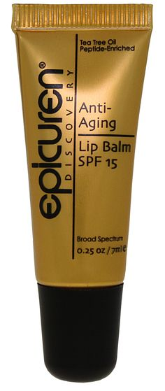 Anti-Aging Lip Balm SPF 15   A UV filtering anti-aging moisturizer that soothes & rejuvenates dry, chapped lips. Packed with a unique blend of Pomegranate, Coconut extracts & a potent desert plant extract, this peptide complex mimics the result of hyaluronic acid injections by dramatically enhancing collagen & moisture synthesis within the skin to awaken the lips & maximize fullness & volume. For a certified Epicuren® retailer near you please visit www.epicuren.com.