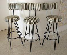 3 Vintage Barstools / Black and White Vinyl Stripe Stools