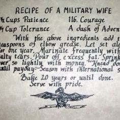 Recipe for a military wife