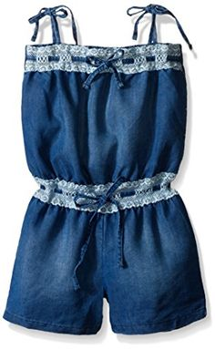 Kensie Little Girls Light Weight Romper with Elastic Eyelet Trim Medium Blue Denim 6X -- Check out this great product.Note:It is affiliate link to Amazon.