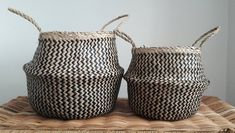Handmade Vietnamese Seagrass Belly Basket Black and Natural Zig Zag Pattern Belly Basket, Zig Zag Pattern, Hand Weaving, Handmade, Etsy, Natural, Black, Baskets, Plant Pots