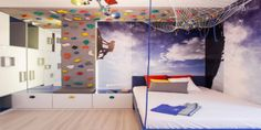 This is better suited for older children, but if you want to incorporate your child's favourite outside hobby into their bedroom, why not build a small climbing wall, or a traversing wall in their bedroom. Again, you do not need a lot of space for this, and you can create feature wall, but a practical one. You can make this as elaborate, or as simple as you like, but whatever you do, your child will absolutely love it!