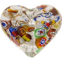 35mm Klimt Style Double Heart Murano Glass Bead, Silver Foil
