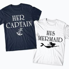 Her captain his Mermaid Matching Shirts marine boat couple #cruiseclothes