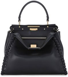 Fendi Peekaboo Medium Stitch Threading Satchel Bag, Black