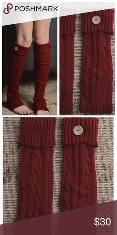 "Maroon Cable Knit Leg Warmers Cable knit cuff maroon color leg warmers with button. 100% acrylic. Measures 12""x4"". One size fits most.   * Before asking, please note whatever sizes are listed below are all I currently have in stock.   ▫️Add to Bundle"" to add more items in my closet or ""Buy"" to checkout here with your size.  ↓Follow me on Instagram ↓         @ love.jen.marie Jennifer's Chic Boutique Accessories Hosiery & Socks"