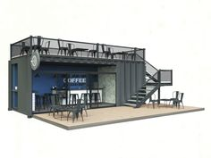 You coffee fans want to make a coffee shop in the house but are puzzled by the style? Relax Stegavia below has actually prepared a number of one-of-a-kind styles ranging from simple to glamorous insides, all below Wc Container, Container Coffee Shop, Container House Design, Container Architecture, Container Buildings, Kiosk Design, Cafe Design, Shipping Container Office, Café Bar