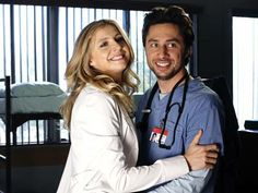 JOHN MICHAEL ''J.D.'' DORIAN (ZACH BRAFF) AND ELLIOT REID (SARAH CHALKE) from Scrubs (2001-2010). It took only 15 episodes for J.D. and Elliot to hop in bed together. It would be over 100 more before they finally entered into a mature and healthy relationship. By the show's final season (it's ninth), J.D. and Elliot were married and expecting their first child.