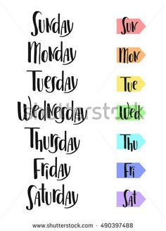 days of the week hand lettering - Google Search