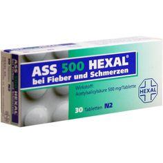 ASS 500 HEXAL Tabletten:   Packungsinhalt: 30 St Tabletten PZN: 07402227 Hersteller: Hexal AG Preis: 2,31 EUR inkl. 19 % MwSt. zzgl.…