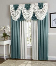Navy Blue White Hyatt Curtain Set