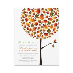 Thanksgiving Autumn Fall Leaves Pop Tree Party Inv Personalized Invitation by fat_fa_tin