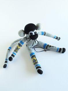 Sock Monkey-Minion-Themed-Handmade-Monkey-Black, Grey, Yellow, Blue-Plush-Plushie, Stuffed, Stuffed Animal, Cuddly-Minions by…