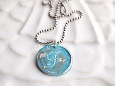 Colored Vintage Style Wax Seal Initial Pendant Monogram by hfgifts, $60.00 - HorseFeathers Jewelry & Gifts