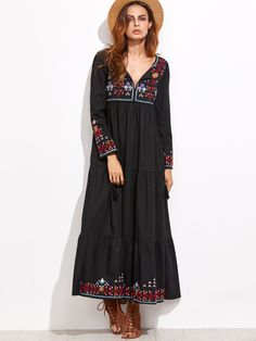 SheIn offers Embroidered Tassel Detail Tiered Seam Dress & more to fit your fashionable needs. Modest Fashion, Boho Fashion, Fashion Dresses, Womens Fashion, Fashion Design, Fast Fashion, Look Boho Chic, Bohemian Style, Pretty Outfits